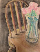 Interior Still Life Drawings Originals - Floral Still Life by SL Sistrunk