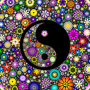 Awareness Digital Art Prints - Floral Yin Yang Print by Tim Gainey