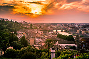 San Rafael Church Prints - Florence at Sunset Print by Arnaldo Torres