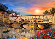 Italian Landscape Digital Art Prints - Florence Bridge Print by Dominic Davison