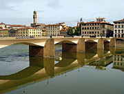 Italian Landscapes Prints - Florence Bridge Print by Ellen Henneke