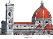 Florence Mixed Media Framed Prints - Florence Cathedral Framed Print by Frederic Kohli