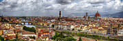 Arno River Framed Prints - Florence Daytime Panorama Framed Print by George Oze