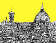 Skyline Drawings Posters - Florence Duomo in acid yellow Poster by Lee-Ann Adendorff