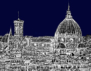 Skyscrapers Drawings Framed Prints - Florence Duomo in dark navy Framed Print by Lee-Ann Adendorff