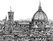 City Buildings Drawings Framed Prints - Florence Duomo in ink  Framed Print by Lee-Ann Adendorff