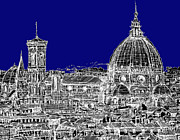 Skylines Drawings Posters - Florence Duomo in royal blue Poster by Lee-Ann Adendorff