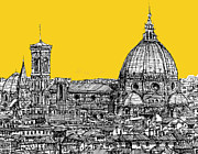 City Buildings Drawings Framed Prints - Florence Duomo  Framed Print by Lee-Ann Adendorff