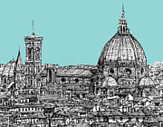 Skylines Drawings Posters - Florence Duomo on light blue Poster by Lee-Ann Adendorff