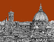 Skylines Drawings Posters - Florence Duomo on sepia  Poster by Lee-Ann Adendorff