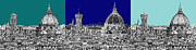Skylines Drawings Posters - Florence Duomo Triptych blues Poster by Lee-Ann Adendorff