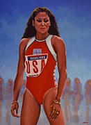 American Football Painting Metal Prints - Florence Griffith - Joyner Metal Print by Paul Meijering