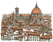 Pen And Ink Framed Prints Prints - Florence in colour Print by Lee-Ann Adendorff