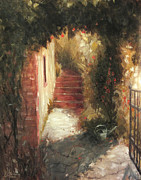 Tuscan Sunset Painting Originals - Florence Italy Path to the Olive Orchard by Christopher Clark