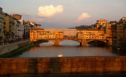 Florence Italy - Ponte Vecchio - Sunset - 01 Print by Gregory Dyer