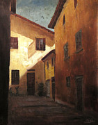 Daily Painter Prints - Florence Italy Quiet Alleyway Print by Christopher Clark