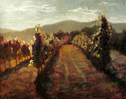Italian Wine Painting Originals - Florence Italy the Vineyard Next Door by Christopher Clark