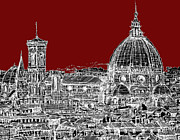 Skylines Drawings Posters - Florence on red  Poster by Lee-Ann Adendorff