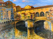 Town Square Mixed Media Framed Prints - Florence-Ponte Vecchio Framed Print by Mikhail Zarovny