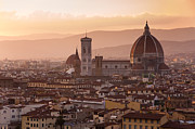 Skylines Pastels Prints - Florence skyline at sunset Print by Francesco Emanuele Carucci