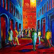 Mona Edulescu Paintings - Florence Sunset by EMONA Art