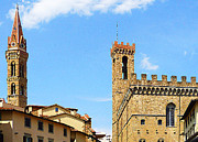Watercolor Map Photos - Florence Towers by Irina Sztukowski