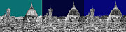 Skylines Drawings Posters - Florence Triptych in blue Poster by Lee-Ann Adendorff