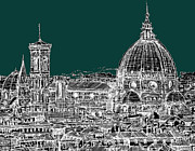 Skylines Drawings Posters - Florence white on turquoise Poster by Lee-Ann Adendorff