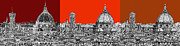 Skylines Drawings Posters - Florences Duomo in oranges Poster by Lee-Ann Adendorff