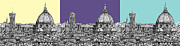 Lilac Drawings Posters - Florences Duomo in pastels Poster by Lee-Ann Adendorff
