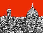 Skylines Drawings Posters - Florences Duomo on orange Poster by Lee-Ann Adendorff