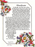 Love Poem Drawings - Florentine Desiderata Poster by Claudette Armstrong