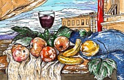 Italian Wine Framed Prints - Florentine Still Life after Giorgio de Chirico Framed Print by Joseph York