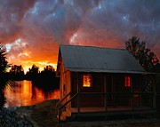 Cabin Wall Prints - Florida cabin at sunset Print by Daniel Cantwell