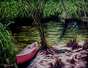 Waterside Paintings - Florida Canoe by Christine Schwander