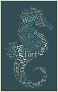 Sarasota Digital Art Posters - Florida Cities Seahorse Poster by Nomad Art And  Design