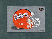 Florida Gators  Paintings - Florida Gators Helmet by Herb Strobino