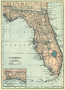 Vintage Map Photos - Florida by Janette Maher