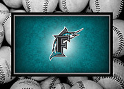 Baseball Bat Metal Prints - Florida Marlins Metal Print by Joe Hamilton