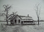 Abandoned Houses Drawings Framed Prints - Florida Old House Framed Print by Tom Rechsteiner