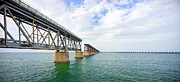 Wide Angle Photos - Florida Overseas Railway bridge near Bahia Honda State Park by Adam Romanowicz