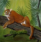 Tree In Background Framed Prints - Florida Panther Framed Print by Sandra Maddox