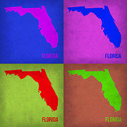 World Map Digital Art Metal Prints - Florida Pop Art Map 1 Metal Print by Irina  March