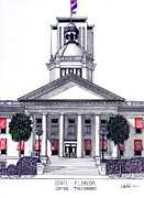 Pen And Ink Framed Prints Metal Prints - Florida State Capitol Metal Print by Frederic Kohli