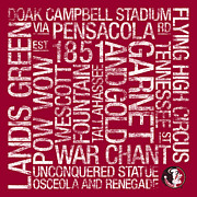 Doak Campbell Stadium Prints - Florida State College Colors Subway Art Print by Replay Photos