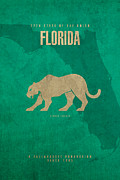 Florida Art - Florida State Facts Minimalist Movie Poster Art  by Design Turnpike