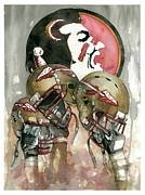 Helmet Mixed Media Framed Prints - Florida State Seminoles Framed Print by Michael  Pattison