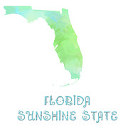 Maps Prints - Florida - Sunshine State - Map - State Phrase - Geology Print by Andee Photography