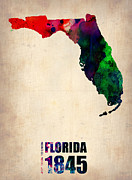 Modern Poster Framed Prints - Florida Watercolor Map Framed Print by Irina  March