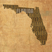 Florida Art Framed Prints - Florida Word Art State Map on Canvas Framed Print by Design Turnpike